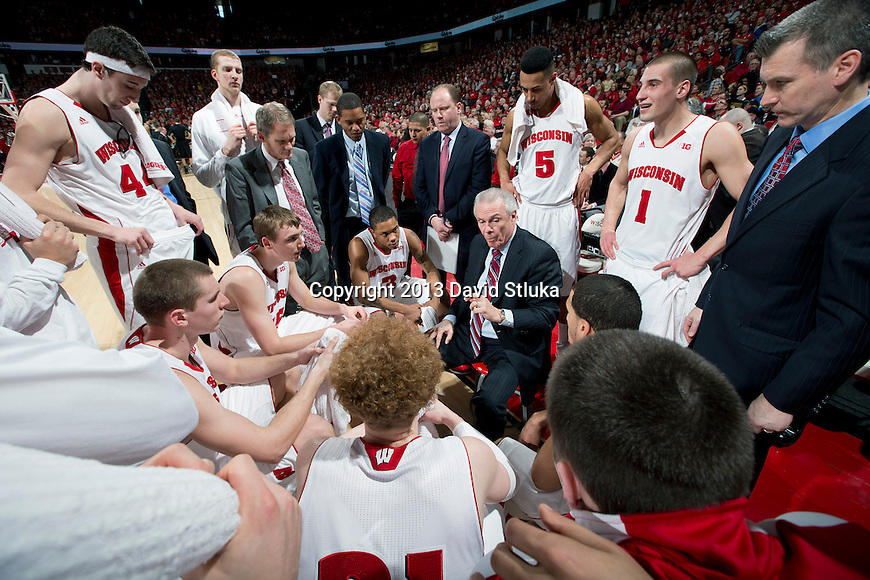 Wisconsin Badgers head coach Bo Ryan talks to his players during a Big Ten Conference NCAA college basketball game against the Purdue Boilermakers Sunday, March 3, 2013, in Madison, Wis. Purdue won 69-56. (Photo by David Stluka)