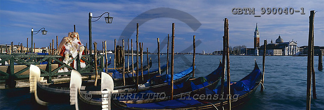 Tom Mackie, LANDSCAPES, panoramic, photos, Gondolas & couple in costume, Venice, Italy, GBTM990040-1,#L#