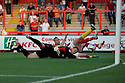 Marcus Haber of Stevenage scores the opening goal. Stevenage v AFC Wimbledon - Capital One Cup First Round - Lamex Stadium, Stevenage . - 14th August, 2012. © Kevin Coleman 2012