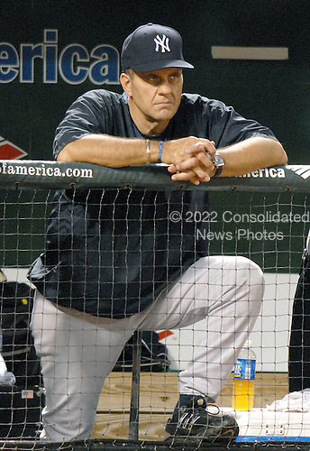 Baltimore, MD - July 27, 2007 -- New York Yankee manager Joe Torre (6) watches the Yankees bat in the second inning against the Baltimore Orioles at Oriole Park at Camden Yards in Baltimore, MD on Friday, July 27, 2007.  The Yankees lost the game 4 - 2..Credit: Ron Sachs / CNP.(RESTRICTION: No New York or New Jersey Newspapers or Newspapers within a 75 mile radius of New York City)