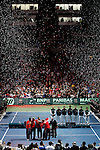 French and Serbian Davis Cup teams during closing ceremony of Davis Cup finals, Serbia vs France in Belgrade Arena in Belgrade, Serbia, Sunday, 5. December 2010. (credit & photo: Pedja Milosavljevic/SIPA PRESS)