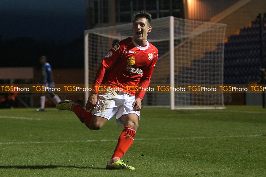 Tom Hitchcock scores the second goal for Crewe and celebrates - Colchester United vs Crewe Alexandra - Sky Bet League One Football at the Weston Homes Community Stadium, Colchester, Essex - 29/12/13 - MANDATORY CREDIT: Gavin Ellis/TGSPHOTO - Self billing applies where appropriate - 0845 094 6026 - contact@tgsphoto.co.uk - NO UNPAID USE