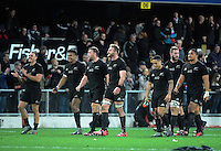 The All Blacks thank fans after the Steinlager Series rugby union match between the New Zealand All Blacks and Wales at Forsyth Barr Stadium, Wellington, New Zealand on Saturday, 25 June 2016. Photo: Dave Lintott / lintottphoto.co.nz