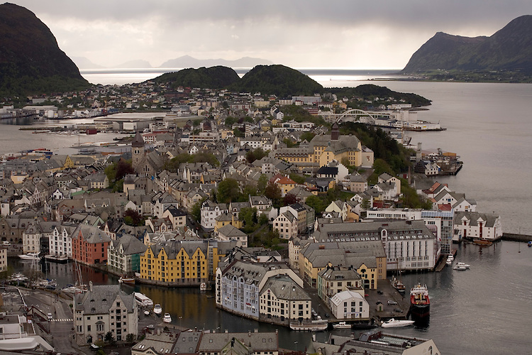 Harbor and Art Nouveau Bldgs of Alesund on the western fjords.