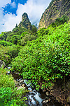 View of Iao needle with Iao stream in lush green valley under blue sky. Iao Valley State Park, Maui, Hawaii.