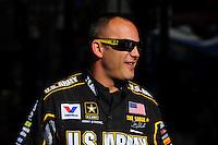 Feb. 17 2012; Chandler, AZ, USA; NHRA top fuel driver Tony Schumacher interacts with fans at the Arizona Nationals at Firebird International Raceway. Mandatory Credit: Mark J. Rebilas-