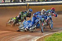 Kasper Andersen of King's Lynn Stars leads Nicolas Covatti of Poole Pirates and Nikolaj Busk Jakobsen of Poole Pirates in Heat 2 during Poole Pirates vs King's Lynn Stars, SGB Premiership Shield Speedway at The Stadium on 11th April 2019