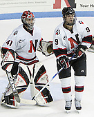 Adam Geragosian, Jacques Perreault - The Boston College Eagles and Northeastern University Huskies tied at 1 on Saturday, October 22, 2005, at Matthews Arena in Boston, Massachusetts.