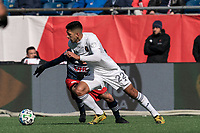 FOXBOROUGH, MA - MARCH 7: Mauricio Pineda #22 of Chicago Fire brings the ball forward during a game between Chicago Fire and New England Revolution at Gillette Stadium on March 7, 2020 in Foxborough, Massachusetts.