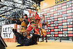 Marcel Kittel and Warren Barguil dressed as Samurai on stage before the Tour de France Saitama Crit&eacute;rium 2017 held around the streets os Saitama, Japan. 3rd November 2017.<br /> Picture: ASO/Pauline Ballet | Cyclefile<br /> <br /> <br /> All photos usage must carry mandatory copyright credit (&copy; Cyclefile | ASO/Pauline Ballet)