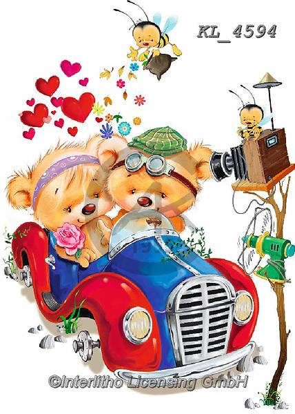 Interlitho-Fabrizio, Comics, VALENTINE, VALENTIN, paintings+++++,2 bears, car,KL4594,#v#, EVERYDAY ,sticker,stickers