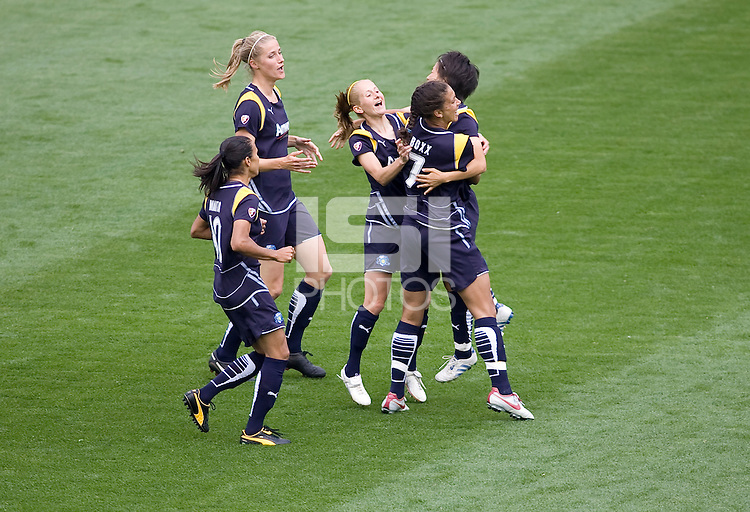 LA Sol players celebrate their first goal as a team. LA Sol forward Marta. The LA Sol defeated the Washington Freedom 2-0 in the opening game of Womens Professional Soccer at Home Depot Center stadium on Sunday March 29, 2009.  .