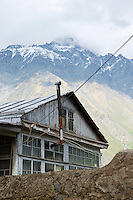 A traditional wooden house in the village of Kazbegi, which was renamed Stepantsminda in 2006