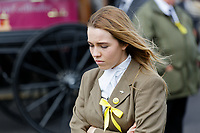 "Pictured: Mourners at Aberavon Beach Hotel, Wales, UK. Monday 08 October 218<br /> Re: A grieving father will mourners on horseback at the funeral of his ""wonderful"" son who killed himself after being bullied at school.<br /> Talented young horse rider Bradley John, 14, was found hanged in the school toilets by his younger sister Danielle.<br /> Their father, farmer Byron John, 53, asked the local riding community to wear their smart hunting gear at Bradley's funeral.<br /> Police are investigating Bradley's death at the 500-pupils St John Lloyd Roman Catholic school in Llanelli, South Wales.<br /> Bradley's family claim he had been bullied for two years after being diagnosed with Attention Deficit Hyperactivity Disorder.<br /> He went missing during lessons and was found in the toilet cubicle by his sister Danielle, 12."