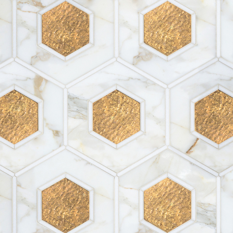 Ruche, a stone waterjet mosaic, shown in polished Calacatta, polished Thassos, and honed Gold Glass, is part of the Aurora® collection by Sara Baldwin for New Ravenna.