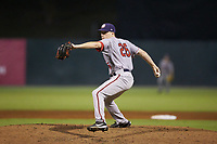 Hagerstown Suns relief pitcher Phil Morse (26) in action against the Kannapolis Intimidators at Kannapolis Intimidators Stadium on July 16, 2018 in Kannapolis, North Carolina. The Intimidators defeated the Suns 7-6. (Brian Westerholt/Four Seam Images)