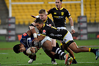 Auckland&rsquo;s Tumua Manu and Wellington&rsquo;s Malo Tuitama in action during the Mitre 10 Cup - Wellington v Auckland at Westpac Stadium, Wellington, New Zealand on Thursday 4 October 2018. <br /> Photo by Masanori Udagawa. <br /> www.photowellington.photoshelter.com