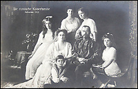 BNPS.co.uk (01202 558833)<br /> Pic: HAldridge/BNPS<br /> <br /> The Russian Royal family, 1913.<br /> <br /> Poignant photographs of the last Russian royal family visiting their British relatives - the King and Queen of Britain - have come to light.<br /> <br /> The black and white images show Tsar Nicholas II, his wife Alexander and their children at Osborne House on the Isle of Wight in 1909 with Edward VII and his wife, Mary of Teck.<br /> <br /> The images show just how close the two Royal families were. <br /> <br /> The album of up to 100 photo postcards is being sold for &pound;1,500 by Henry Aldridge and Son.