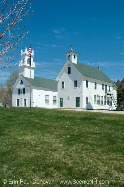 Washington Congregational Church (1840) and the Old School House (1883) in the Washington Common in  Washington, New Hampshire, USA. Washington is the first town incorporated under the name of George Washington and the meeting house has been in continuous use for over 200 years.