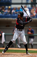 Lake Elsinore Storm left fielder Buddy Reed (23) at bat during a California League game against the Rancho Cucamonga Quakes at LoanMart Field on May 20, 2018 in Rancho Cucamonga, California. Rancho Cucamonga defeated Lake Elsinore 6-2. (Zachary Lucy/Four Seam Images)