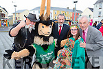 King Puck and Sean Kelly MEP launched the 2015 Puck Fair in Killorglin on Friday night l-r: Pat O'Neill, King Puck, Sean Kelly, Tyler O'Sullivan and Declan Mangan