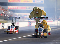 Sep 3, 2017; Clermont, IN, USA; NHRA top fuel driver Leah Pritchett (right) alongside Doug Kalitta during qualifying for the US Nationals at Lucas Oil Raceway. Mandatory Credit: Mark J. Rebilas-USA TODAY Sports