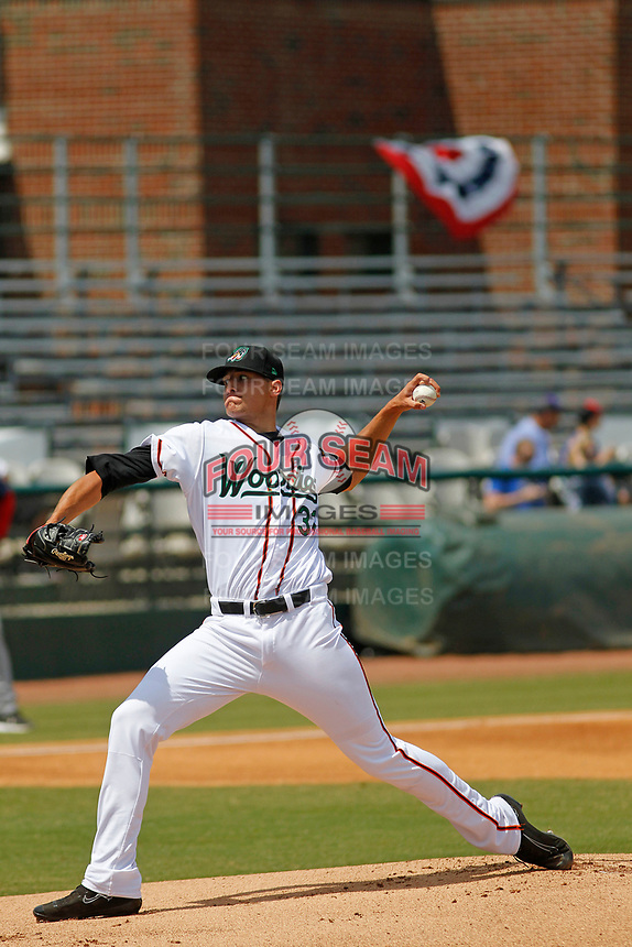 Down East Wood Ducks pitcher Brett Martin (31) on the mound during a game against the Salem Red Sox at Grainger Stadium on April 16, 2017 in Kinston, North Carolina. Salem defeated Down East 9-2. (Robert Gurganus/Four Seam Images)