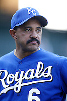 Kansas City Royals Manager Tony Pena before a 2002 MLB season game against the Los Angeles Angels at Angel Stadium, in Anaheim, California. (Larry Goren/Four Seam Images)