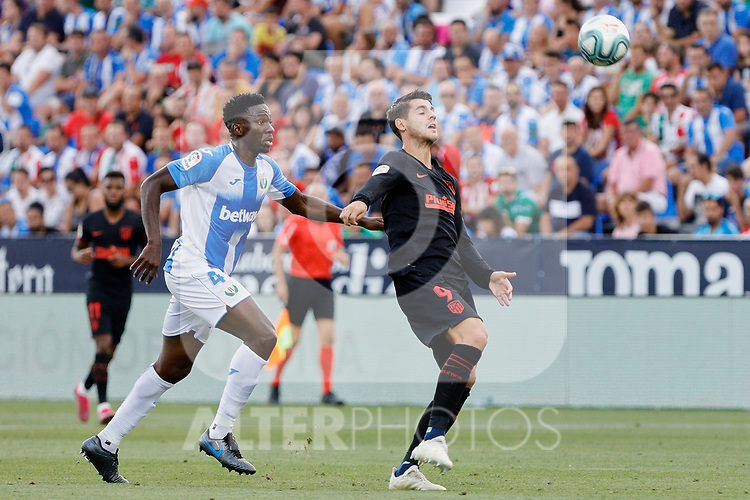 CD Leganes's Kenneth Josiah Omeruo and Atletico de Madrid's Alvaro Morata during La Liga match between CD Leganes and Atletico de Madrid at Butarque Stadium in Madrid, Spain. August 25, 2019. (ALTERPHOTOS/A. Perez Meca)