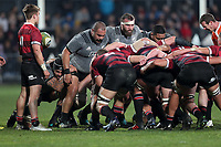 A scrum packs down during the Game of Three Halves between the NZ All Blacks and Canterbury at AMI Stadium in Christchurch, New Zealand on Friday, 10 August 2018. Photo: Martin Hunter / lintottphoto.co.nzz