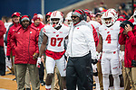 Wisconsin Badgers assistant coach Ted Gilmore, center, with wide receiver Quintez Cephus (87) during an NCAA College Big Ten Conference football game against the Illinois Fighting Illini Saturday, October 28, 2017, in Champaign, Illinois. The Badgers won 24-10. (Photo by David Stluka)