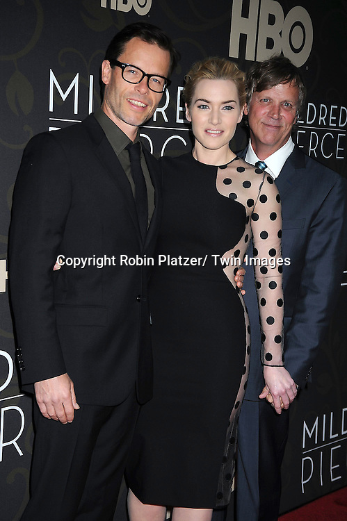 "Guy Pearce, Kate Winslet and Todd Haynes attending The New York Premiere of  the HBO Miniseries ""Mildred Pierce"" on March 21, 2011 at The Ziegfeld Theatre in New York City.  The movie stars Kate Winslet, Guy Pearce,  Evan Rachel Wood, Melissa Leo, Mare Winningham and James LeGros."