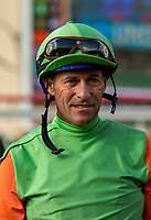 DEL MAR, CA  SEPTEMBER 2:  Gary Stevens waits for the results of an inquiry in the Del Mar Juvenile Turf on September 2, 2018 at Del Mar Thoroughbred Club in Del Mar, CA. (Photo by Casey Phillips/Eclipse Sportswire/Getty ImagesGetty Images