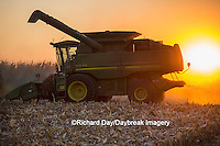 63801-06717 John Deere combine harvesting corn at sunset, Marion Co., IL
