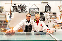 BNPS.co.uk (01202 558833)<br /> Pic: RogerArbon/BNPS<br /> <br /> Family business - Pat(80) with son Andrew(55).<br /> <br /> Britain's longest-serving butcher fears achievements like hers are headed for the chop thanks to the demise of the high street.<br /> <br /> Pat Jenkins, who has recently celebrated her 80th birthday, has been working as a butcher for 60 years after joining her father Albert Musselwhite in the family business in 1958.<br /> <br /> She learnt everything she knows on the job, at a time when female butchers were completely unheard of, and still runs Mason's in Bournemouth, Dorset, with her son Andrew, 55.<br /> <br /> But Pat says the struggling high street cannot recover and local butchers are a dying breed.<br /> <br /> Their shop on Christchurch Road was once one of 11 butchers on the three-mile stretch, but now they are the only one still going.