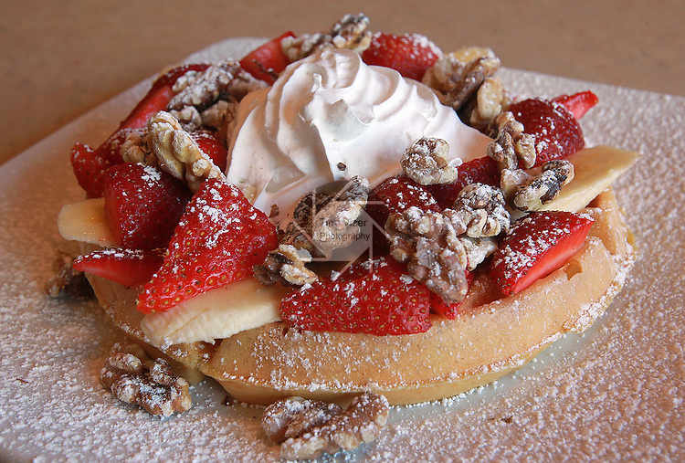 042412tvwaffle.A strawberry banana-nut waffle served by The Egg & I restaurant..BND/TIM VIZER   with Sue story