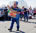 Paul Steele, of Isleton, organizes the Spam throwing contest at the Isleton Spam Festival at Peter's Steakhouse in Isleton, California, on Sunday, February 16th, 2014.  Photo/Victoria Sheridan