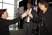 Alexandra Mendes, deputee federale Brossard - Saint-Lambert  (G) et Mme Sylvie Vachon, PDG de l'Administration portuaire de Montreal (APM) remet au capitaine gagnant la Canne a pommeau d'or lors d'une ceremonie officielle au nouveau Terminal de croisieres de l'Administration portuaire de Montreal, le 3 janvier 2018.<br /> <br /> <br /> PHOTO : <br /> Agence Quebec Presse
