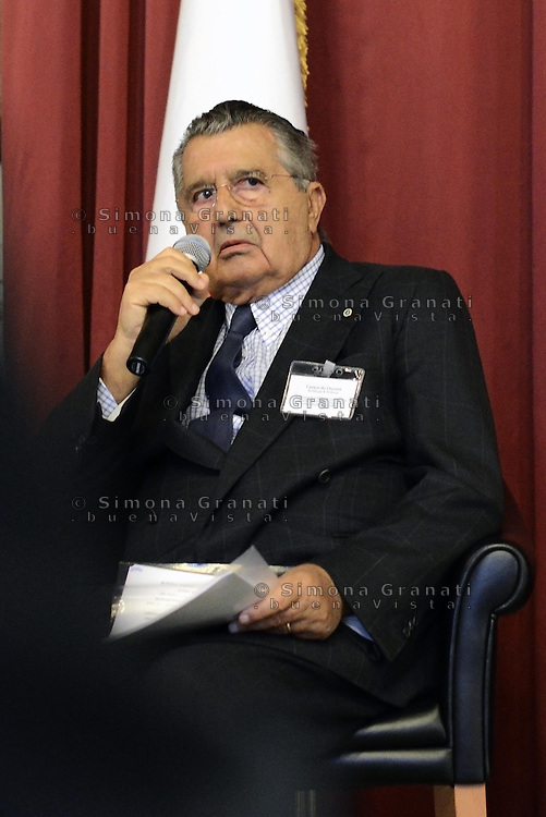 Roma, 30 Giugno 2014<br /> Montecitorio<br /> Convegno su Economia digitale e industria culturale con Fedele Confalonieri presidente Mediaset e Carlo De Benedetti presidente del Gruppo Espresso(nella foto).<br /> Rome, June 30, 2014 <br /> Montecitorio<br /> Conference on Digital Economy and culture industry with Mediaset chairman Fedele Confalonieri and Carlo De Benedetti, chairman of the Espresso Group(in the picture).