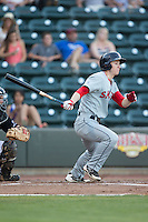 Danny Mars (2) of the Salem Red Sox follows through on his swing against the Winston-Salem Dash at BB&T Ballpark on June 16, 2016 in Winston-Salem, North Carolina.  The Dash defeated the Red Sox 7-1.  (Brian Westerholt/Four Seam Images)