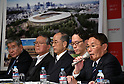 December 22, 2015, Tokyo, Japan - Kazumi Ohigashi, right, senior director of the Japan Sports Council, speaks during a news conference in Tokyo on Tuesday, December 22, 2015, announcing the winning design for the new National Stadium. The government picked the design by architect Kengo Kuma, putting an end to the longstanding brouhaha over the venue that is expected to be the centerpiece of the 2020 Tokyo Olympics.  (Photo by Natsuki Sakai/AFLO) AYF -mis-