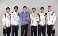 06-02-12, Netherlands,Tennis, Den Bosch, Daviscup Netherlands-Finland, Team with clothing sponsor, L.t.r. Rojer, Haase, sponsor Schalken, captain Jan Siemerink, Jesse Huta galung and Thiemo de Bakker