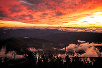 Receding storm clouds at sunset, as viewed from Clingmans Dome