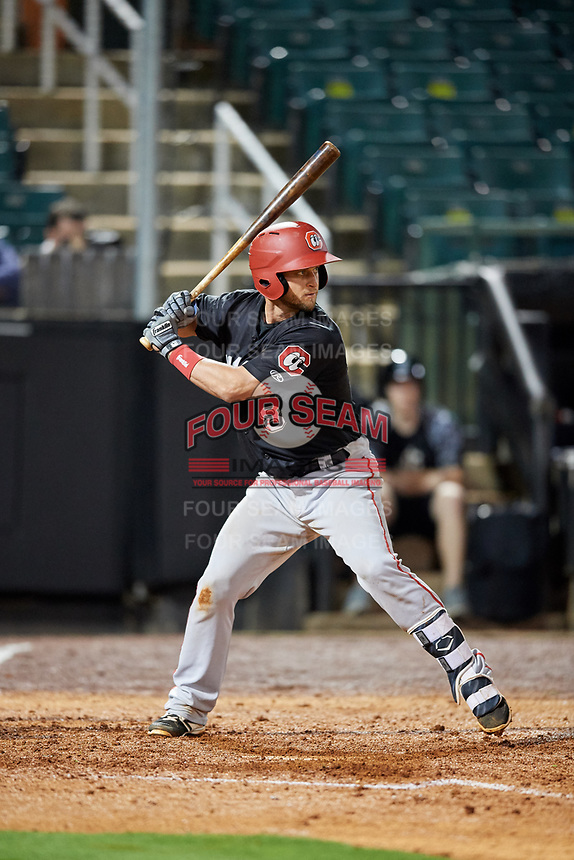 Chattanooga Lookouts catcher Dan Rohlfing (8) at bat during a game against the Jackson Generals on April 27, 2017 at The Ballpark at Jackson in Jackson, Tennessee.  Chattanooga defeated Jackson 5-4.  (Mike Janes/Four Seam Images)