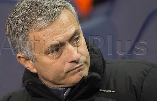 01.01.2015.  London, England. Barclays Premier League. Tottenham versus Chelsea. José Mourinho, the Chelsea manager cuts a frustrated figure on the bench.