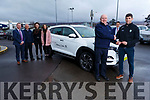 Paul Geaney receives the keys to his new car from Noel O'Connor of Adams of Tralee on Tuesday.<br /> Front l  to r: Marcus O'Shea, Donnie Shine, Gemma Toomey and Antoinette O'Connell.<br /> Back l to r: Oisin Shannon.