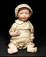 BNPS.co.uk (01202 558833)<br /> Pic: Bonhams/BNPS<br /> <br /> ***Please Use Full Byline***<br /> <br /> Kammer &amp; Keinhardt Bisque Head Character Baby with Glass Eyes. <br /> <br /> <br /> A creepy collection of almost 100 'lifelike' dolls modelled on children has emerged for sale with a whopping half a million pounds price tag. <br /> <br /> The eerie-looking toys were made in Germany in the early 20th century as dollmakers strived to produce dolls with realistic human features.<br /> <br /> The collection of 92 dolls, which includes some of the rarest ever made, has been pieced together by a European enthusiast over the past 30 years.<br /> <br /> It is expected to fetch upwards of &pound;500,000 when it goes under the hammer at London auction house Bonhams tomorrow (Weds).