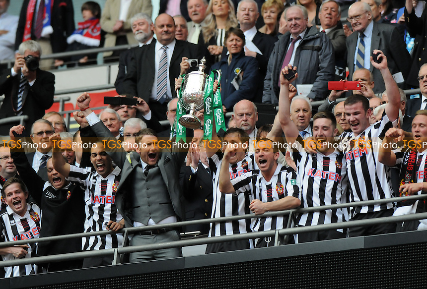 Spennymoor Town captain Daniel Moore lifts the FA Vase with Captain Chris Mason - Spennymoor Town vs Tunbridge Wells - FA Challenge Vase Final at Wembley Stadium, London - 04/05/13 - MANDATORY CREDIT: Steven White/TGSPHOTO - Self billing applies where appropriate - 0845 094 6026 - contact@tgsphoto.co.uk - NO UNPAID USE.