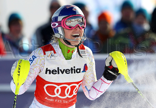 29.01.2012.  Ski Alpine FIS WC St Moritz Super Combination women  Ski Alpine FIS World Cup Super combination for women Slalom Picture shows Lindsey Vonn USA