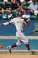 Nathaniel Causey #11 of the Arizona State Sun Devils bats against the Long Beach State Dirtbags at Blair Field on March 11, 2012 in Long Beach,California. Arizona State defeated Long Beach State 6-1.(Larry Goren/Four Seam Images)